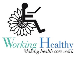 Stick figure using a wheelchair with Sunflower- WORK Logo